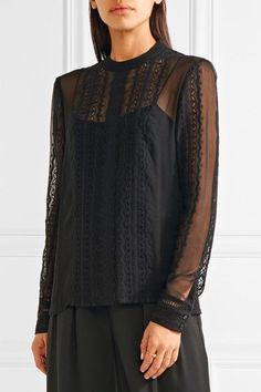 Elizabeth and James Sophia lace-trimmed silk-georgette blouse $345