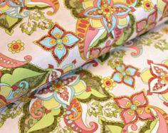 Bohemian Pink Fabric, Riley Blake, Floral in pink teal gree yellow, Half Yard