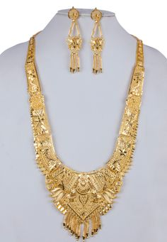 Golden Alloy Long Necklace With Earrings 157105 Bridal Necklace, Bridal Jewelry, Gold Necklace, Gold Choker, Gold Jewelry Simple, Gold Jewellery, Silver Jewelry, Gold Mangalsutra Designs, Antique Jewellery Designs