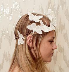 White Sparkle Butterfly Crown  Wedding bride by neesiedesigns
