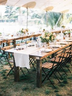 black tie summer wedding idea | mix elegant & rustic elements to create a relaxed but refined feel at the reception | taylor lord photography | image via: wedding sparrow
