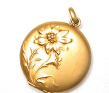 Art Nouveau Gold Locket Pendant