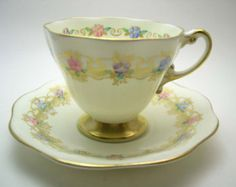 Antique 1930's Foley Tea cup and saucer, Light yellow with hand painted flowers, Fine Bone China, English tea set