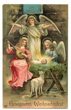 Holy Winged Angels^Baby Jesus In Manger^1900s German Stamp Christmas Postcard