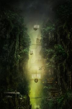 gorge by Sabina-Elisabeth on DeviantArt 3 D, Buddha, Deviantart, Fantasy, Statue, Places, Painting, Lugares, Imagination