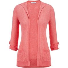 maurices Roll Tab Sleeve Hooded Cardigan ($6.75) ❤ liked on Polyvore