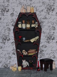 Miniature Vampire/Goth/Witch Bookcase by WeeLittleDelights on Etsy, €10.00