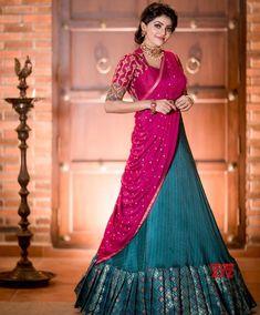 Lehenga Saree Design, Half Saree Lehenga, Lehnga Dress, Saree Look, Lehenga Gown, Lehenga Style, Lehenga Blouse, Indian Lehenga, Anarkali