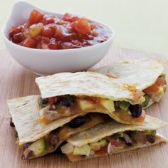 Black Bean & Zucchini Quesadillas-  I wasn't sure how I would like the zuccinni in this but I was pleasantly surprised with how good it was.  I used chopped cherry tomatoes, chopped basil and a sliver of chopped onions in place of the salsa.  I also used flour instead of corn tortillas.  very flavorful-Fast and easy-this is my favorite lunch