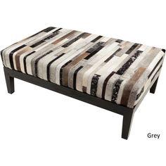 Striped Standard Bench (46 x 30 x 17) (Grey-(46 x 30 x 17)), Brown (Leather)