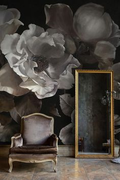 Diana Watson - Back to the Wall Mural D'Argento by Diana Watson Dark moody floral painting Home Wallpaper, Flower Wallpaper, 3d Foto, Luxury Interior Design, Designer Wallpaper, Wall Murals, Wall Art, Painting, Home Decor