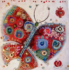 DesertRose,;,Canan Berber,;, Butterfly Painting, Butterfly Art, Butterflies, Art Papillon, Art Fantaisiste, Flying Flowers, Turkish Art, Aboriginal Art, Klimt
