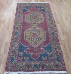 FREE SHIPPING Turkish Oushak Rug 3.1x6.2ft Distressed Red Vintage Anatolian Carpet Handmade Faded Runner Rug Muted Color Kilim Tribal Rugs