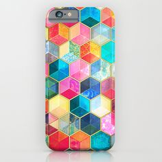 """""""Crystal Bohemian Honeycomb Cubes"""" by Micklyn on Society6"""
