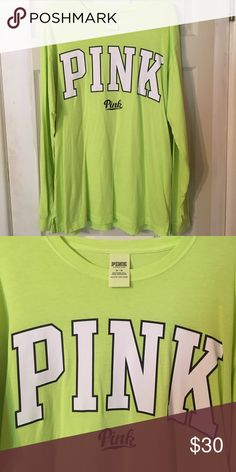 VS Pink Long Sleeve Tee! Excellent condition, worn one time, like new! Size medium, runs oversized! Bright neon yellowish/green! PINK Victoria's Secret Tops Tees - Long Sleeve