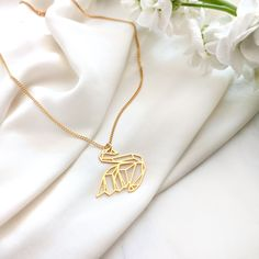 Origami Swan Necklace Gold / Silver Swan Necklace, Bird Necklace, Simple Necklace, Origami Necklace, Origami Jewelry, Origami Swan, Origami Animals, Geometric Necklace, Butterfly Earrings