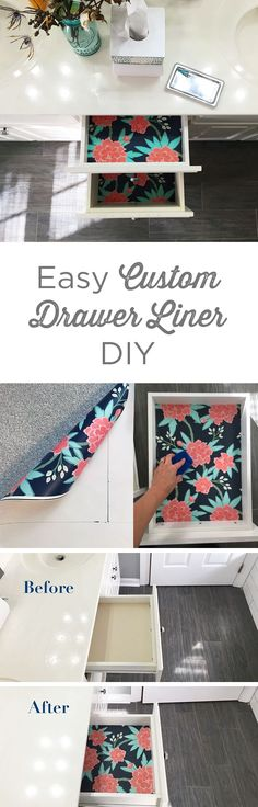This easy DIY tutorial shows the quick steps from boring drawer to beautiful bold interior! These custom drawer liners can brighten up any space and add some color to a drab room. Great solution for leftover wallpaper! Diy Home Decor Rustic, Easy Home Decor, Easy Diy Room Decor, Diy Drawer Liners, Diy Drawers, Dresser Drawers, Organizing Drawers, Organize Dresser, Baby Dresser