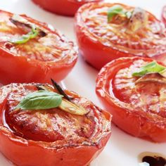 A Tasty recipe for oven roasted tomatoes. Serve with basil and enjoy with a balsamic vinaigrette.. Oven Roasted Tomatoes Recipe from Grandmothers Kitchen.