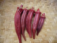 Aunt Hettie's Red Okra - Tennessee heirloom. 4-5' tall. The stalks, leaves, and pods of this variety are a beautiful burgundy. The pods are glossy and have a great taste. 65 days. http://sowtrueseed.com/okra/okra-aunt-hetties-red/