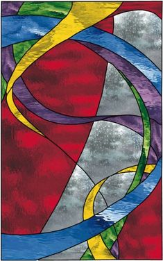 Geometric Abstract Stained Glass Window Hanging