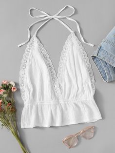 To find out about the Plus Lace Panel Peplum Halter Top at SHEIN, part of our latest Plus Size Tank Tops & Camis ready to shop online today! Halter Tops, Cami Tops, Diy Halter Top, Diy Fashion, Fashion Outfits, Womens Fashion, Fashion Design, Fashion Styles, Summer Outfits