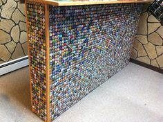 . . . . . How to Recycle: Bottle Cap Design on Table, Floor and Walls