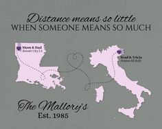 Custom Mother's Day Gift, Fathers Day Present, Long Distance Quote, Family Present, Military Family Personalized Gift, Two-Place Map Art by KeepsakeMaps on Etsy #MilitaryFamilyGift #AvianoAFB #DistanceMeansSoLittleQuote