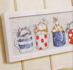 Estos preciosos gatitos en tazas se pueden bordar en manteles, cojines,  para cuadros... Incluso quedarían geniales para hacer un bolso...