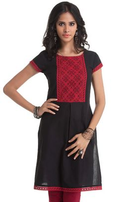 Black Cotton Kurti with Maroon Embroidery   Naari