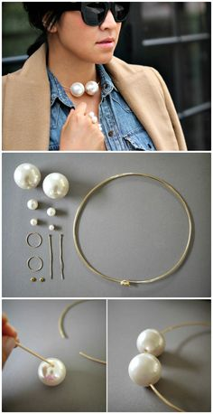 DIY Pearl Choker & Rings - 105 Top DIY Necklace Ideas To Try Out This Weekend - DIY & Crafts