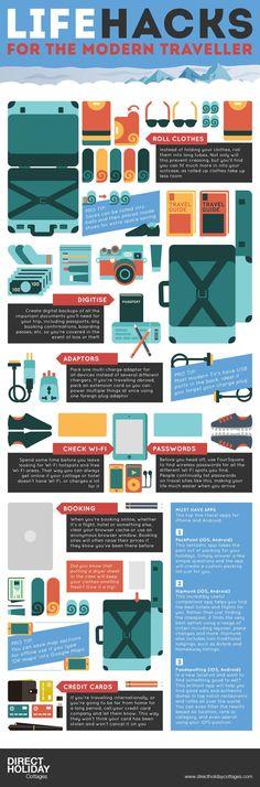Life Hacks For The Modern Traveler [infographic] #travelinfographics
