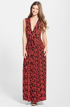 Plenty by Tracy Reese 'Robin' Print Deep V-Neck Maxi Dress (Regular & Petite) available at #Nordstrom
