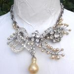 vintage 1950's rhinestone and faux pearl flower bouquet necklace