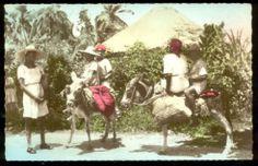 HAITI WOMEN CHILDREN DONKEYS TINTED RPPC c. 1930's.         Propiedad y cortesía de Archivos Rodríguez LLC, archivofotograficodepuertorico.com