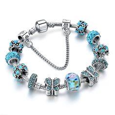 Freewill Blue Crystal Butterfly Charm Bracelets & Bangles Beads Bracelets For Women femme DIY Jewelry Cheap Charm Bracelets, Pandora Bracelets, Pandora Jewelry, Bangle Bracelets, Bangles, Crystal Beads, Silver Beads, 925 Silver, Luxury Jewelry