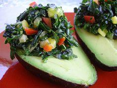Tropi-Kale Stuffed Avocados- Raw Vegan Recipe