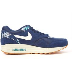 Nike Navy Air Max 1 Print Trainers ($150) ❤ liked on Polyvore featuring shoes, sneakers, navy blue shoes, lace up sneakers, floral print sneakers, flower print sneakers and lightweight shoes