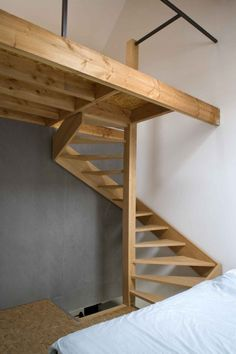 Dosfel-Klein Kwartier, Belgium by ONO Architectuur - lofted area in bedroom with wooden staircase