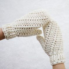 Modeling my new Snow Spell mittens. I'm really happy with the fit and love the cuff to keep out the chill. Crochet mitten pattern by HiddenMeadowCrochet.com