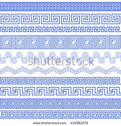 Set of brushes to create the Greek Meander patterns.Greek traditional borders…