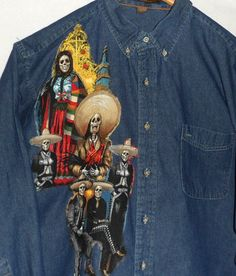 Mariachi Day of the Dead Shirt Fiber Art Shirt Man's Denim Jean Shirt One-of-a-Kind Shirt Designed for Men and Women by Quiltwear on Etsy