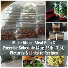 Make Ahead Meal Plan & Exercise Schedule August 25 - 31 www.organizeyourselfskinny.com