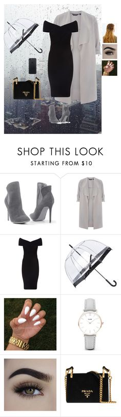 """Rainy day in New York"" by catarina-santos ❤ liked on Polyvore featuring Venus, Dorothy Perkins, Maje, Fulton, CLUSE, Prada and WithChic"
