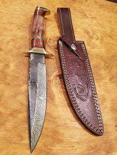 Handmade Stained Bone Handle Hunting Knife Damascus Steel