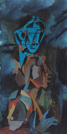 Maqbool Fida Husain, Untitled (Three Heads), Oil on canvas.