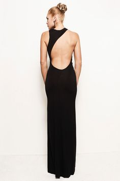 LAUREN - Grecian Backless Asymmetric Jersey Maxi Wedding Prom Dress Gown (Helmut Lang, Ralph Lauren, Michael Kors, BCBG, Gucci, Versace)