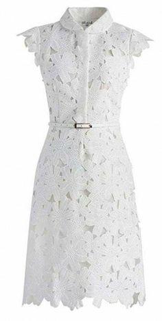 Retro Dresses Full Flower Cut Out Midi Dress - Retro, Indie and Unique Fashion White Cut Out Dress, White Mini Dress, White Lace, White White, Knee Length Cocktail Dress, White Cocktail Dress, Cocktail Dresses, Calf Length Dress, Knee Length Dresses
