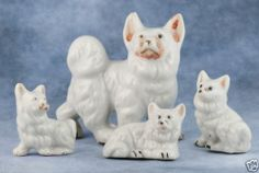 Vintage Porcelain Miniature Set of 4 Occupied Japan Samoyed Dog Figurines Gloss | eBay