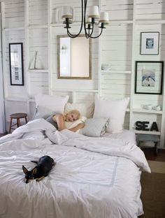 White bedroom... love the wall