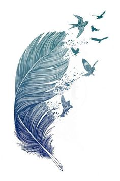 Blue feather, hand painted feather, floating feathers, feather illustration PNG image Source by bull Feather Painting, Feather Art, Feather Drawing, Feather Crafts, Feather Dress, Body Art Tattoos, Tatoos, Feather Illustration, Feather Tattoo Design